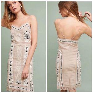 Anthropologie Embroidered Slip Dress